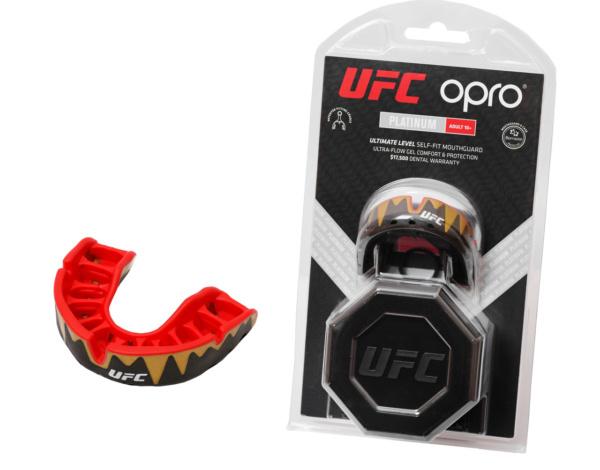 Капа OPRO Platinum UFC HologramFangz Black Metal/Red (art.002261002)