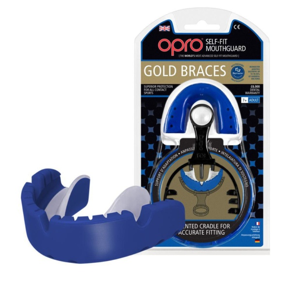 Капа OPRO Gold Braces Blue/Pearl (art.002194002)