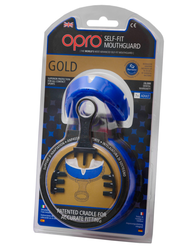Капа OPRO Gold Series Blue/Pearl (art.002193002)